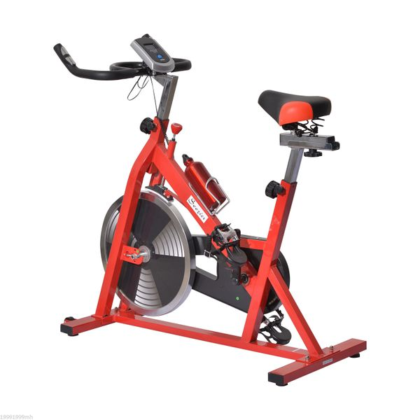 Soozier Upright Stationary Exercise Cycling Bike w/ LCD Monitor Home Office Pro Indoor Training Bicycle Cardio Workout Aerobic Machine with Water Bottle Red and Black | Aosom Canada