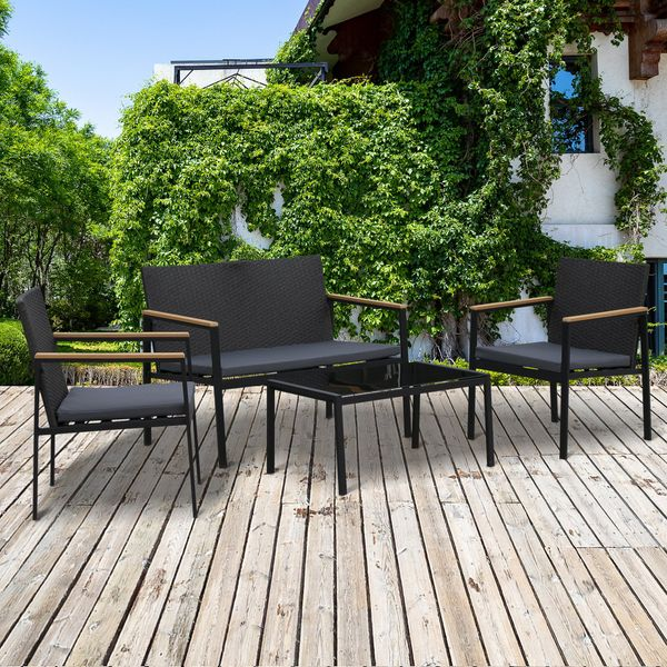 Outsunny 4pc Cushioned Outdoor Rattan Wicker Patio Furniture Chair Loveseat Table