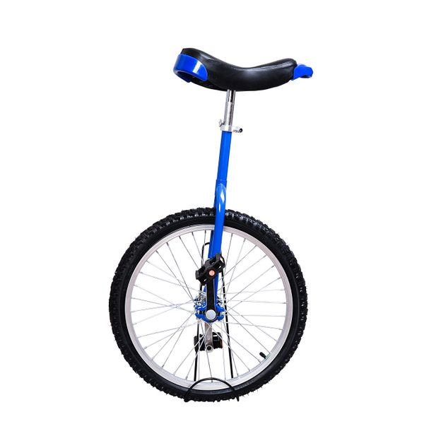 "Soozier 20"" Unicycle Wheel Free Stand Chrome Cycling Exercise 1.75"" Tire Adjustable Height Blue