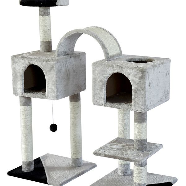 PawHut Cat Tree Condo With Sisal Scratching Posts Plush Perch And House Furniture Kitty Activity Center Grey/Black | Aosom Canada