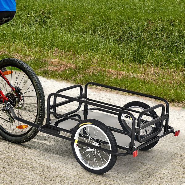 Aosom Folding Bicycle Cargo Trailer Utility Bike Cart Carrier Garden Patio Tool | Aosom Canada