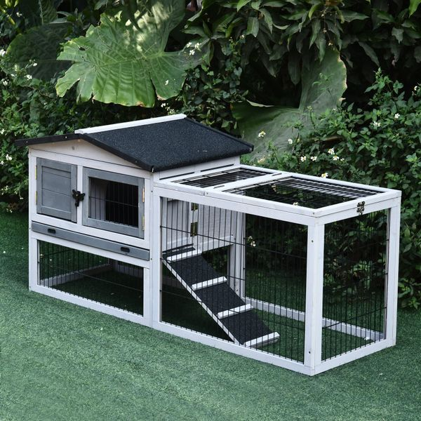 PawHut Solid Wood Rabbit Hutch Pet House Outdoor Water-Resistant W/ Ramp Openable Roof 2 Tier   Aosom Canada
