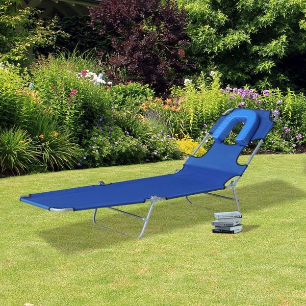 Outsunny Chaise Lounger Folding Recliner Beach Camping Sun Bed Adjustable Blue|Aosom.ca