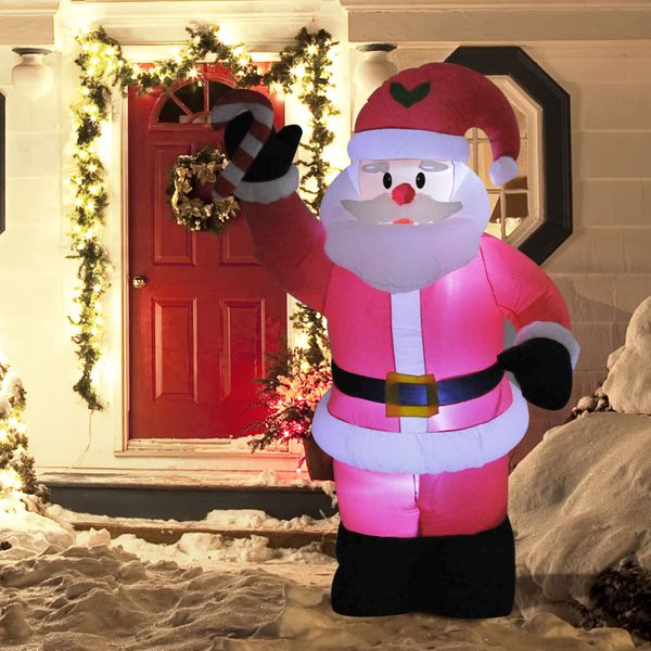 HOMCOM 8 Ft Tall Outdoor Lighted Airblown Inflatable Christmas Lawn Decoration - Santa With Candy Cane|AOSOM.CA