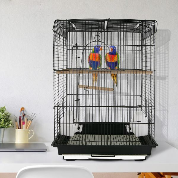 """PawHut 22"""" Bird Cage Flight Parrot House Cockatiels Playpen with Open Play Top and Feeding Bowl Perch Pet Furniture Black 