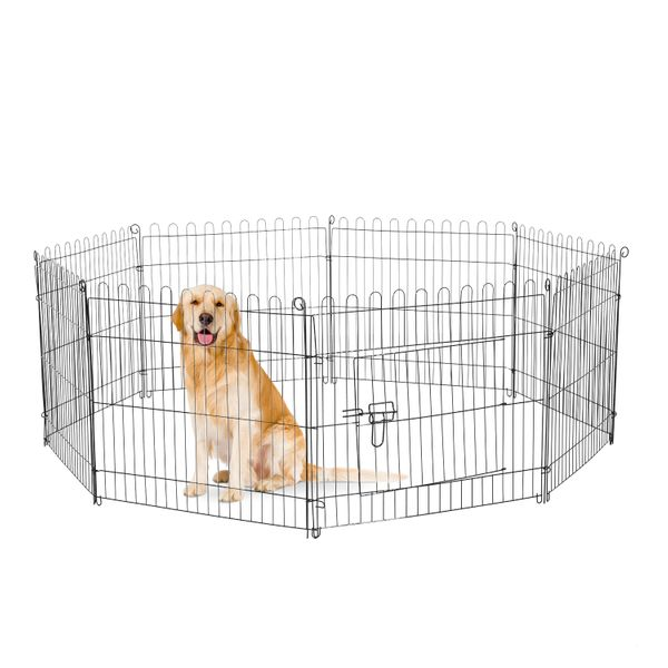 PawHut 24inch Foldable Metal Exercise Pet Playpen Yard Outdoor Dog Puppy Kennel Cage 8 Panel | Aosom Canada