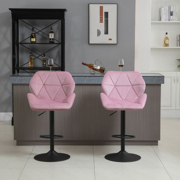 HOMCOM Velvet-Touch Bar Stool Set of 2 Fabric Adjustable Height Armless Counter Chairs with Swivel Seat, Pink