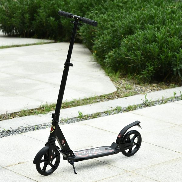 Soozier Teens Adult Kick Folding Scooter Adjustable Height With Brakes and Kickstand Black   Aosom Canada