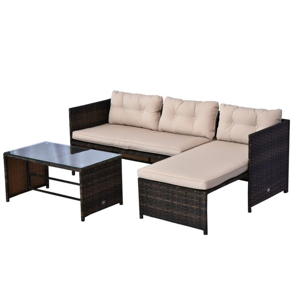 Outsunny 3pcs Rattan Wicker Patio Furniture Set Sofa Chaise Longue Table Outdoor Lounge with Cushion Brown Beige | Aosom Canada