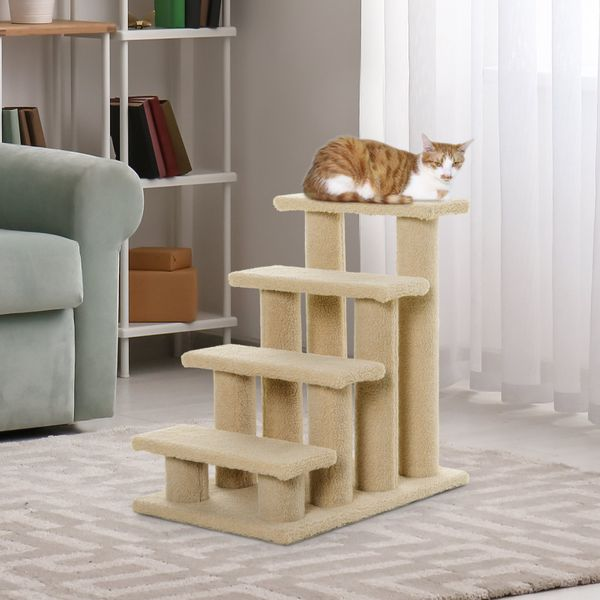 "Pawhut 24"" Four Step Cat Tree Stairway Perch Multi-Level Pet Stairs Dog Scratch Post Furniture Climber Light Brown