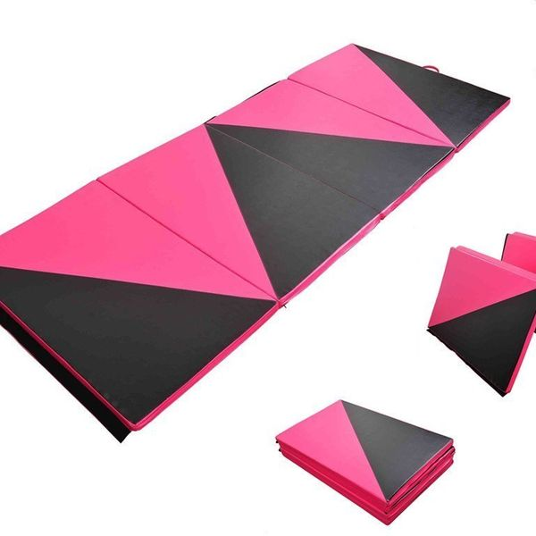 Soozier Foldable Exercise Mat 4'×10'×2'' Gym Mats Portable Gymnastics Mat Home Aerobics Stretching Yoga Tumbling Arts Pad Pink/Black|Aosom Canada