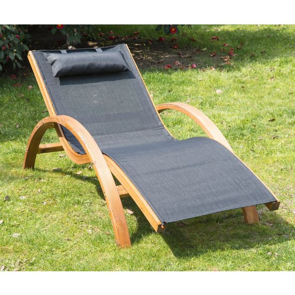 Outsunny Outdoor Wood Chaise Lounge Chair Recliner Patio Camping with Headrest, Teak & Black | Aosom Canada