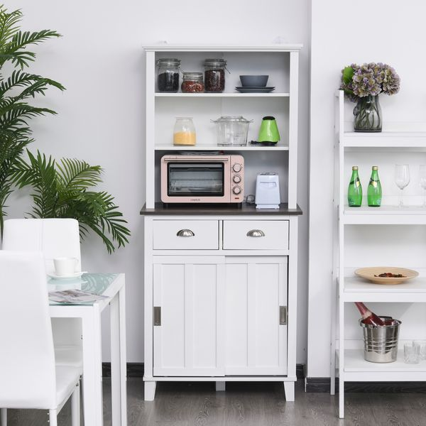 HOMCOM Freestanding Kitchen Pantry Cabinet Cupboard with Sliding Doors and Open Shelves  Adjustable Shelving  White