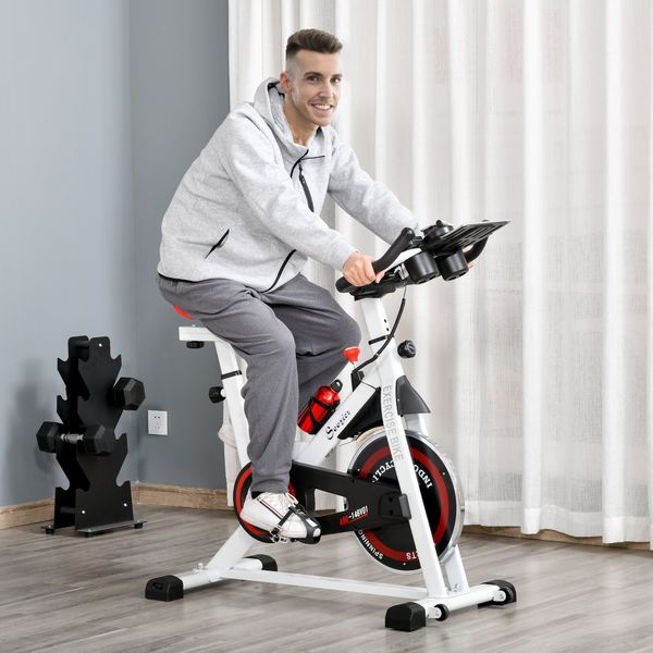 Soozier Adjustable Exercise Bike Aerobic Training Indoor Cycling Stationary Cardio Workout Home Flywheel Fitness Racing Machine Belt Drive   Aosom Canada