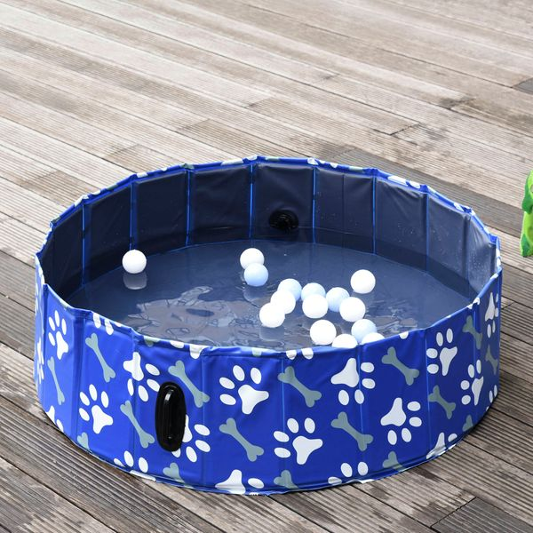 """PawHut Dog Bathing Tub Pet Collapsible Swimming Pool Folding Pool Dog Cat Puppy Washer Indoor/Outdoor 47"""" x 12"""" M Sized 