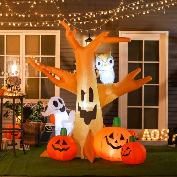HOMCOM 7.5' Tall Outdoor Lighted Airblown Inflatable Halloween Decoration - Haunted Tree W/ Own/Ghost/Pumpkins