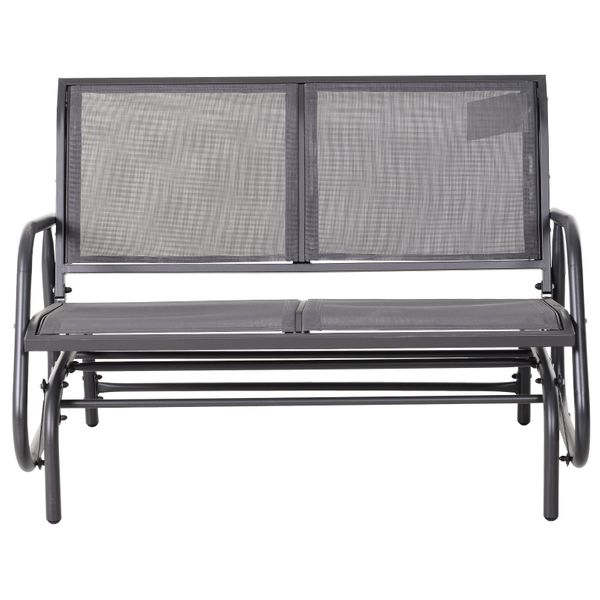 Outsunny HOMCOM 2 Person Patio Glider Double Bench Rocking Chair Steel Sling Fabric Swing   Aosom Canada