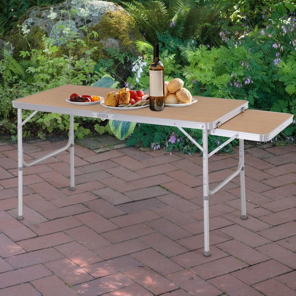 Outsunny Outsunny Picnic Table with Slide Shelf Portable & Foldable 2 Adjustable Height|AOSOM.CA