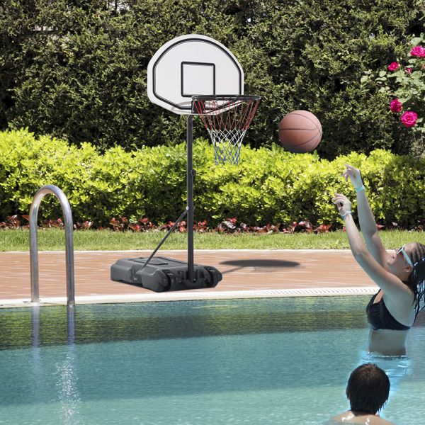 """HOMCOM 51""""-64"""" Height Adjustable Basketball System Portable Poolside Hoop Stand with Wheels Pool Toy