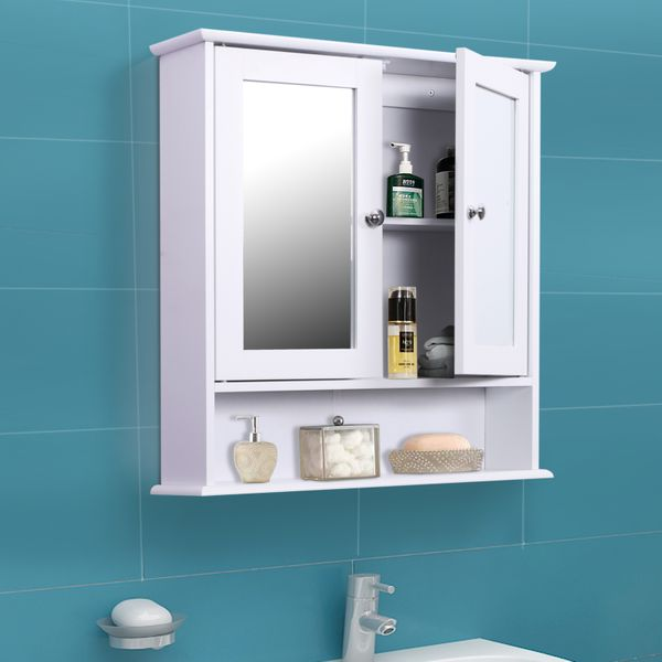 Kleankin Bathroom Storage Cabinet Wall Mounted Medicine Cabinets w/ Double Mirror Doors & Adjustable Shelf White kleankin and - | Aosom Canada