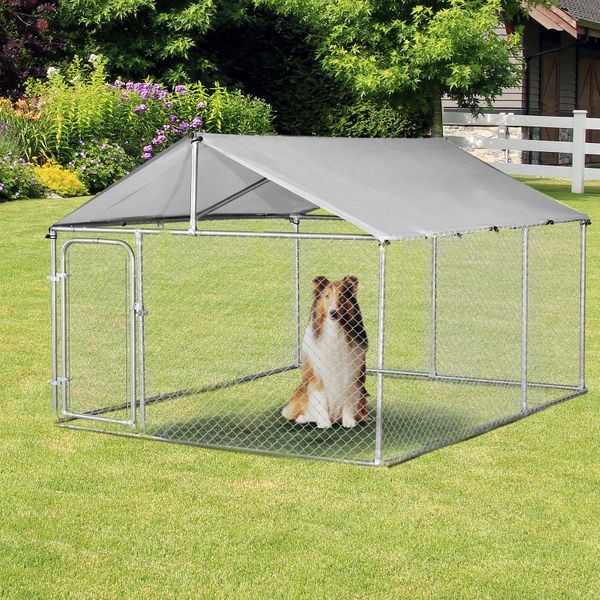 PawHut 7.5'Lx7.5'Wx5.6'H Large Outdoor Dog Kennel Playpen Galvanized Pet Exercise House Cage with Canopy Roof, Silver