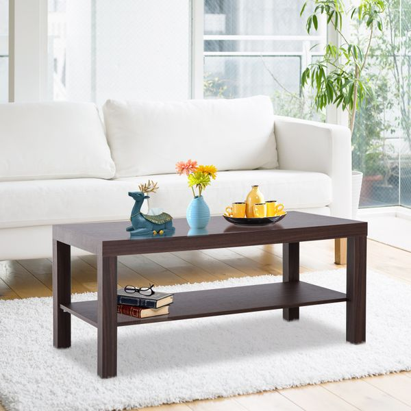 HOMCOM Minimal Wood Coffee Table Storage Shelf Living Room Office Walnut|AOSOM.CA