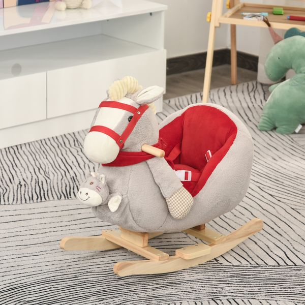 Qaba Kids Ride On Rocking Horse with Cradlesong Handle Grip Hand Puppet Traditional Toy Gift for Children 18-36 Months Rocking Toy for Toddler Grey