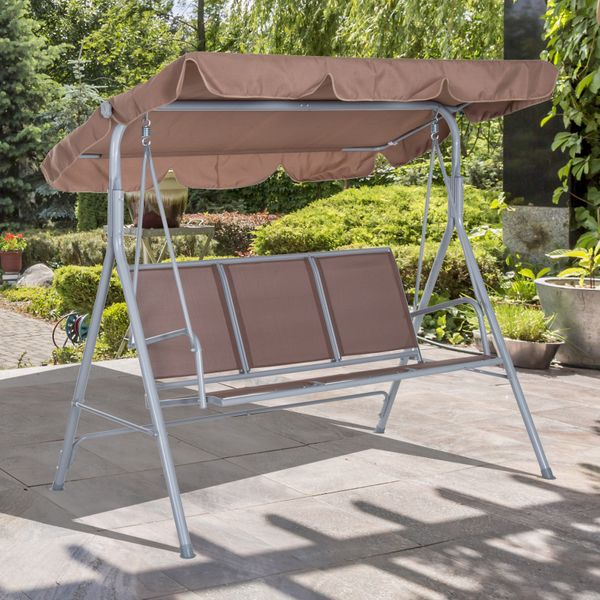 Outsunny A Frame 3-Seater Outdoor Swing Chair Garden Hammock Porch Glider Bed Sling Seat w/ Canopy Cover Brown|Aosom Canada