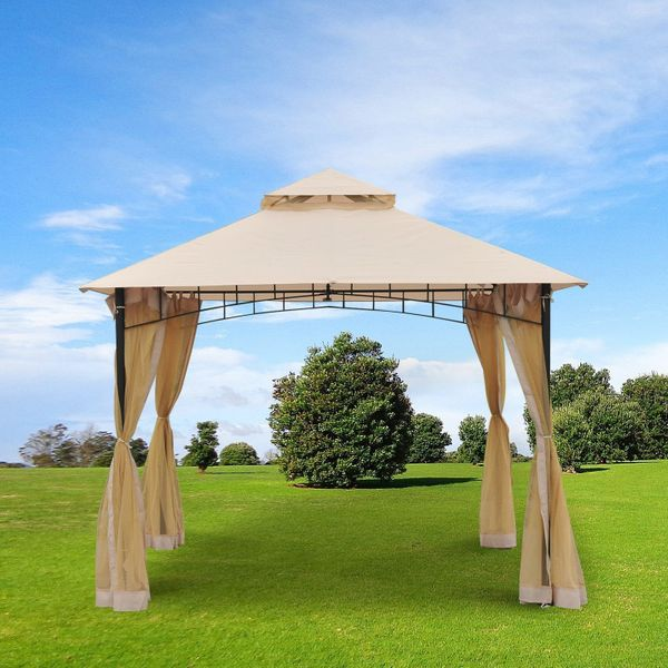 Outsunny Double-tier 10ft×10ft Gazebo Shelter Awning Canopy Outdoor Garden Patio Shade with Metal Frame and Mesh Sidewalls|Aosom Canada