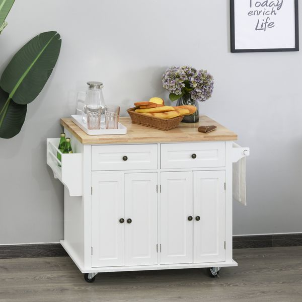 HOMCOM Rolling Kitchen Island Trolley Storage Cart with Rubber Wood Top  Spice Rack  Towel Rack & Drawers for Dining Room  White Drawer   Aosom Canada
