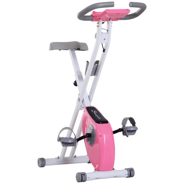 Soozier Indoor Magnetic Upright Exercise Bike with Tablet/Phone Holder White|Aosom Canada