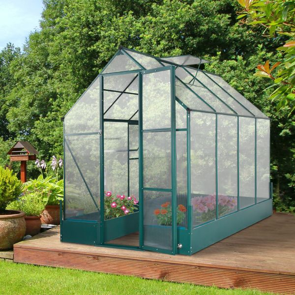 Outsunny Walk-in Greenhouse Outdoor Temperature Controlled Window with Foundation