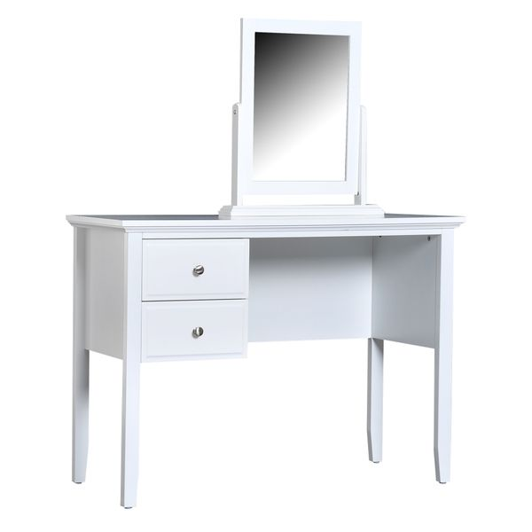 HOMCOM Wood Vanity Table Top Mirror with 2 Drawers White   Aosom Canada