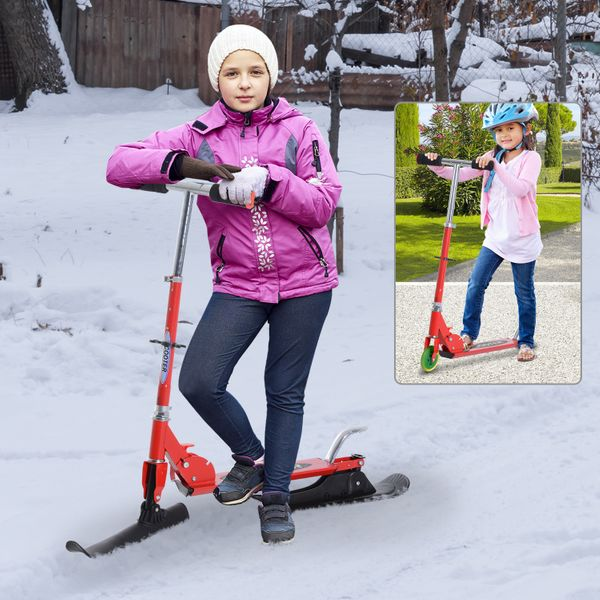 Qaba 2-in-1 Convertible All-weather Scooter Snow Street Amphibious w/ Wheels Blades (Red)|Aosom.ca
