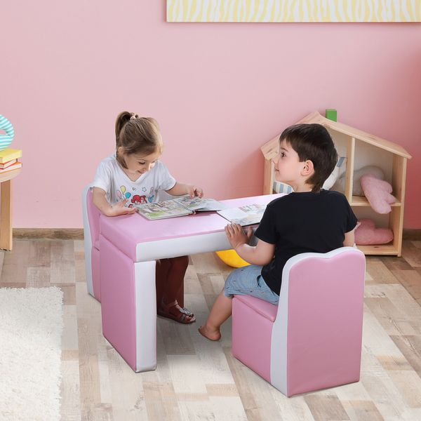 Qaba Kids Sofa 2-in-1 Multi-Functional Table Chair Set 2 Seat Couch Storage Box Soft Sturdy Pink 2-In-1 Functional | Aosom Canada