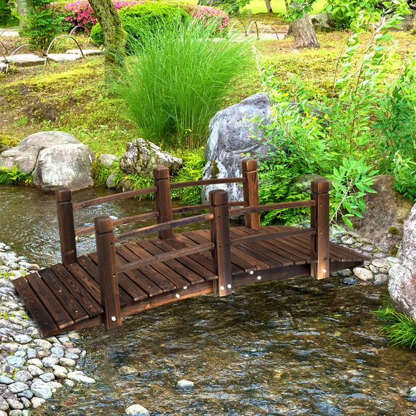 Outsunny 5FT Wood Garden Bridge Side Rails Outdoor | Aosom Canada