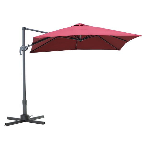 Outsunny 8'x8' Square Patio Offset Hanging Cantilever Umbrella 360° Rotation w/ Cross Base Wine Red|AOSOM.CA