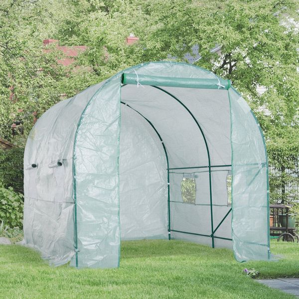 Outsunny Large Walk-in Portable Greenhouse Tunnel 8x6.6x6.6ft Heavy Duty Outdoor Garden Plant Warm House | Aosom Canada