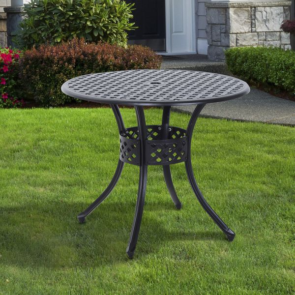 Outsunny Cast Aluminum Garden Round Dining Table Outdoor Garden Furniture Black with Umbrella Hole|AOSOM.CA