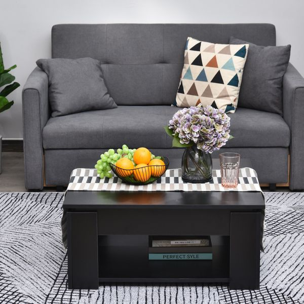 HOMCOM 2 Tier Simple Modern Coffee Table Bottom Shelf Living Room Black|Aosom Canada