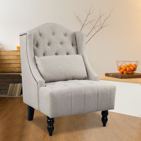 HOMCOM Tufted Fabric Arm Chair Tall Wingback Recliner Accent Vintage Club Sofa Nailhead with Support Pillow Home Furniture Grey | Aosom Canada