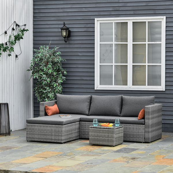Outsunny 3-Piece Modern Outdoor Patio All-hand Woven Rattan Wicker Furniture Patio Coffee Table Sofa Set - Grey 3 PCS Chaise Lounge | Aosom Canada