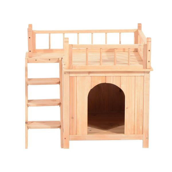 Wood Pet House Cat Tree 2-Story Small Puppy Bed Platform Outdoor Kennel w/ Stair|Aosom Canada