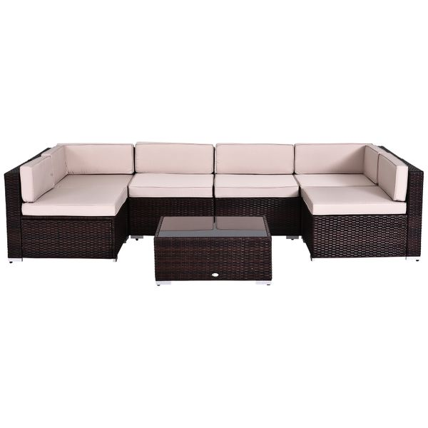 Outsunny 7pcs Outdoor Patio Furniture Set Wicker Rattan Coffee Table Sofa Chair 7-piece with Tea for all Occasions | Aosom Canada