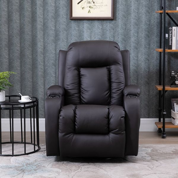 HOMCOM Faux Leather Back and Shoulder Massager Heated Vibrating Recliner Chair with Remote Brown | Aosom Canada