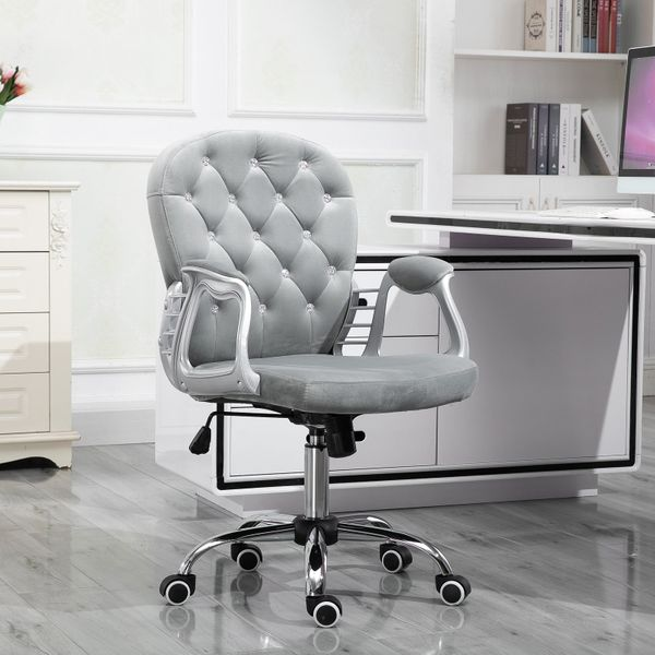 Vinsetto Vanity Middle Back Office Chair Tufted Backrest Swivel Rolling Wheels Task Chair with Height Adjustable Comfortable with Armrests | Aosom Canada