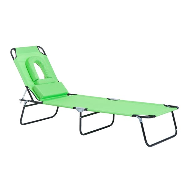 Outsunny Adjustable Garden Chaise Lounge Reading Hole Foldable Green | Aosom Canada