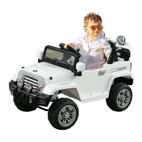 Aosom Kids Electric Ride on Cars 12V Toy Truck Jeep Car with Remote Control 2 Speeds Lights MP3 LCD Indicator White |Aosom Canada