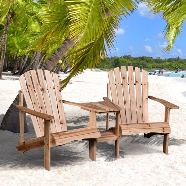 Outsunny Outsunny 2 piece Pair Adirondack Chair w/ Middle Table Reclined|AOSOM.CA