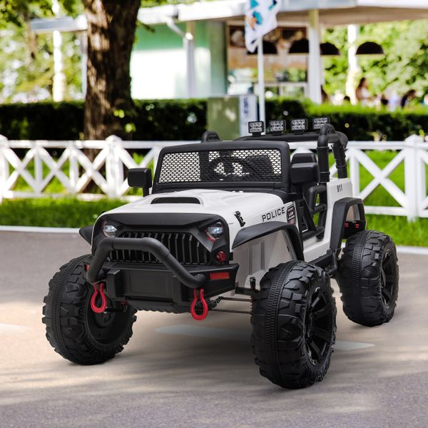 Aosom 12V Power Wheels Jeep 2-Seater Kids Electric Ride On Police Car Truck Toy With Remote For 3 - 8 Years Old Kids White